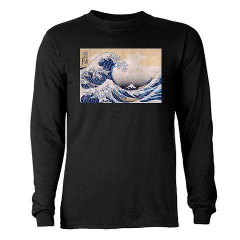 $36 Ukiyoe Hokusai Wave Funny Long Sleeve Dark T-Shirt by CafePress - L Black