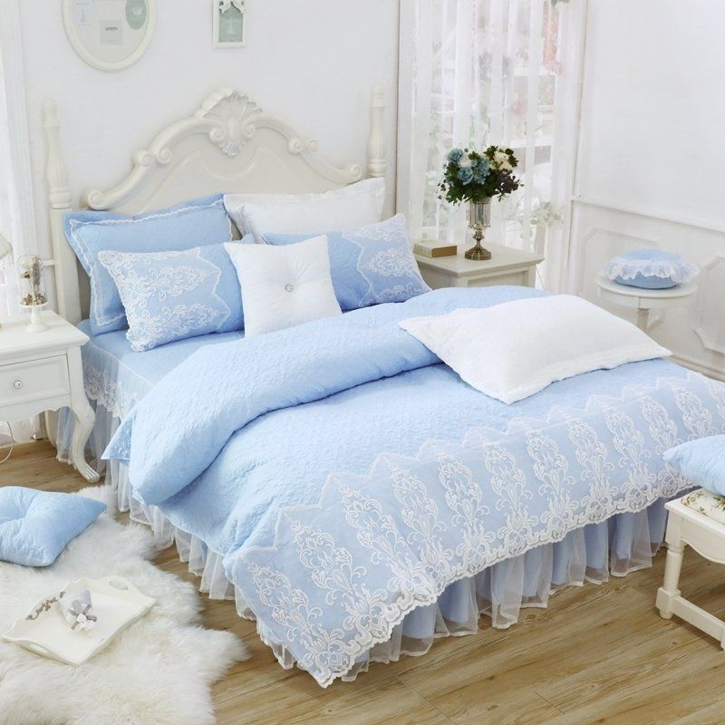 Light Blue And White Vintage Gothic Pattern Drop Ruffle Victorian Lace Romantic Elegant Feminine Twin Fu Ruffle Bedding Sets Ruched Bedding Queen Bedding Sets