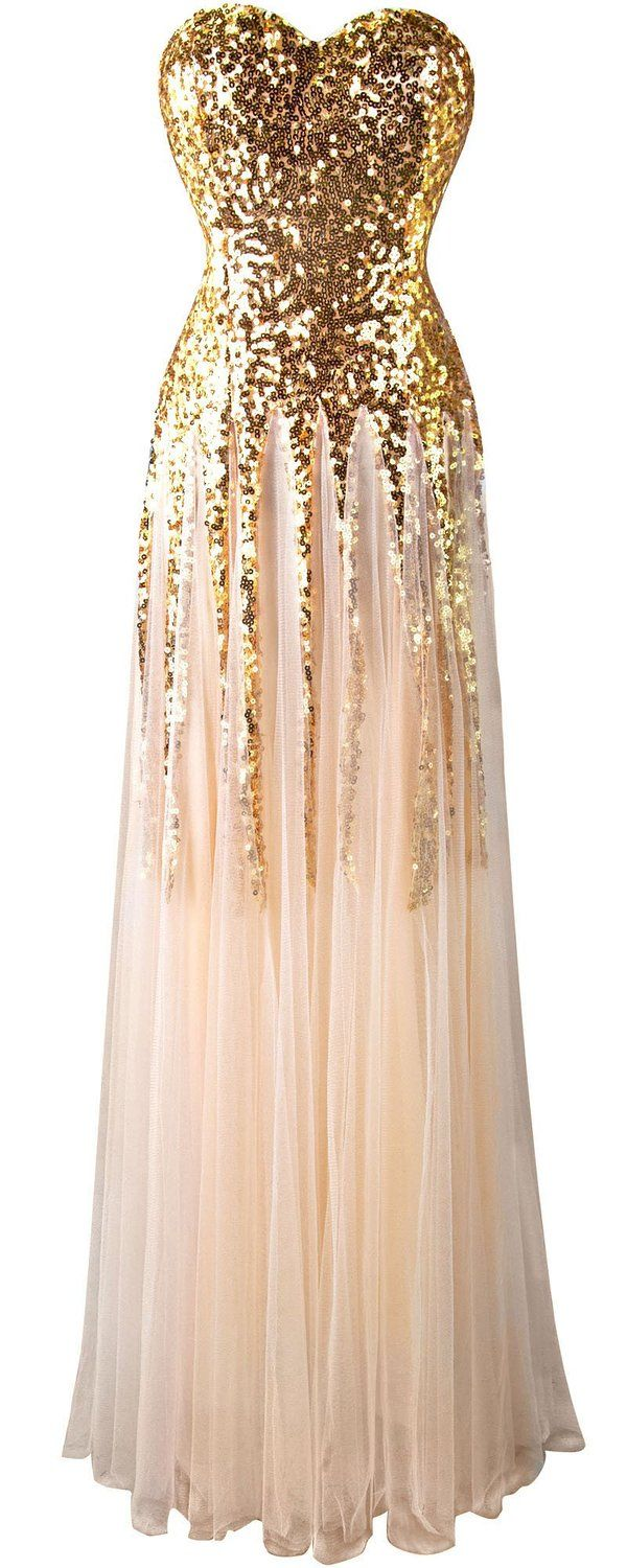 Angelfashions womenus gold sequin sweetheart mesh lace up floor