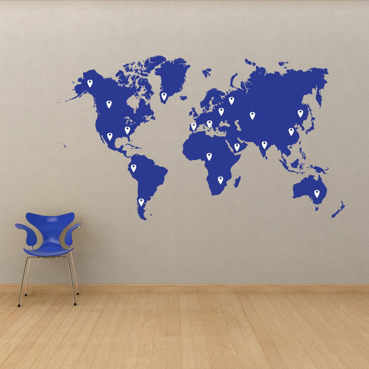 World Map Pin Drops Decal 873 World Map With Pins