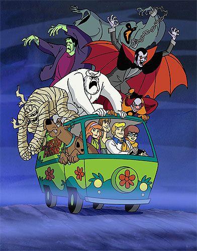 Scooby Doo et ses amis Fred, Daphné, Vera, et Sammy à bord du van Mystery Machine. Un dessin animé Hanna Barbera vraiment génial !