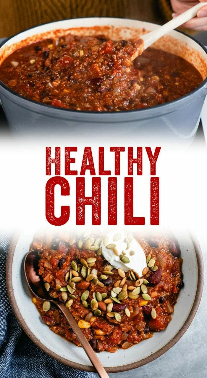 healthy chili recipe is full of good-for-you ingredients and big flavor, featuring a trio of beans,