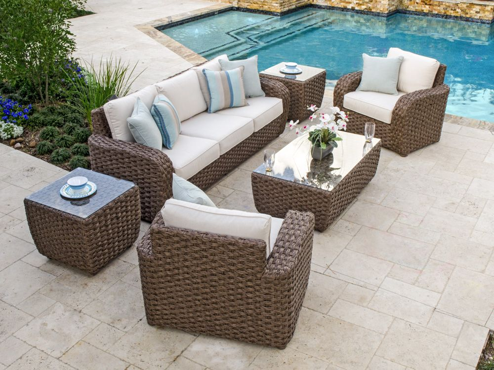 Martinique 4 Pc. Aluminum U0026 Woven Resin Wicker Sofa Group With 48 X 28  Rectangular Glass Top Coffee Table