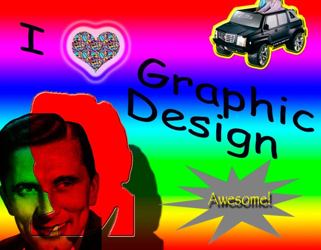 Bad Designer bad design rainbow background with a bad choice of font and a