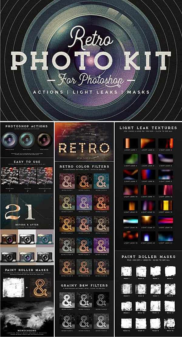 Give your pictures a retro feel with this Photoshop kit It consists