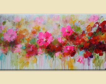 Flower Painting Abstract Red Pink Orange
