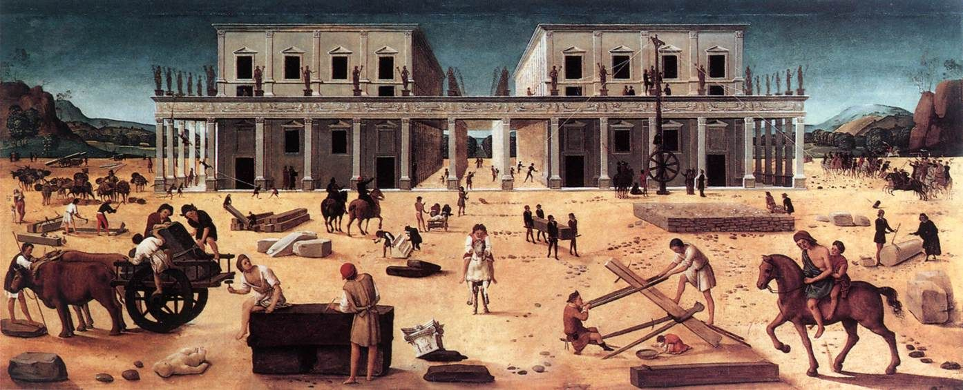 """Piero di Cosimo Italian, 1462-1521, active in Florence """"The Building of a Palace"""" c. 1514-1518"""