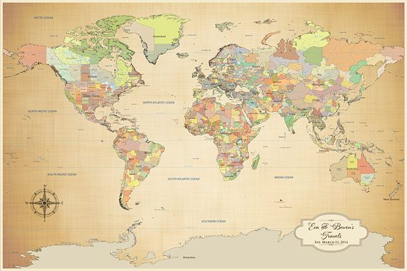 Anniversary gift idea canvas world map personalized push pin map anniversary gift idea canvas world map personalized push pin map world map poster gumiabroncs Images