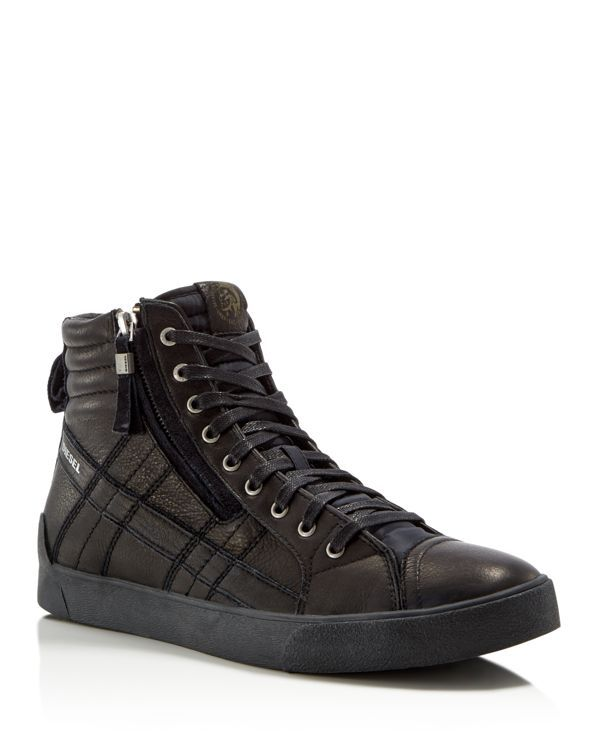 b0bc60cf3 Diesel - Laced Leather High-Top Sneakers
