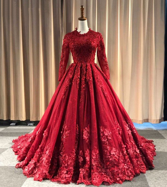 2019 Burgundy Tulle O Neck Long Lace Applique Formal Evening Dress, Bridal Gown With Sleeve