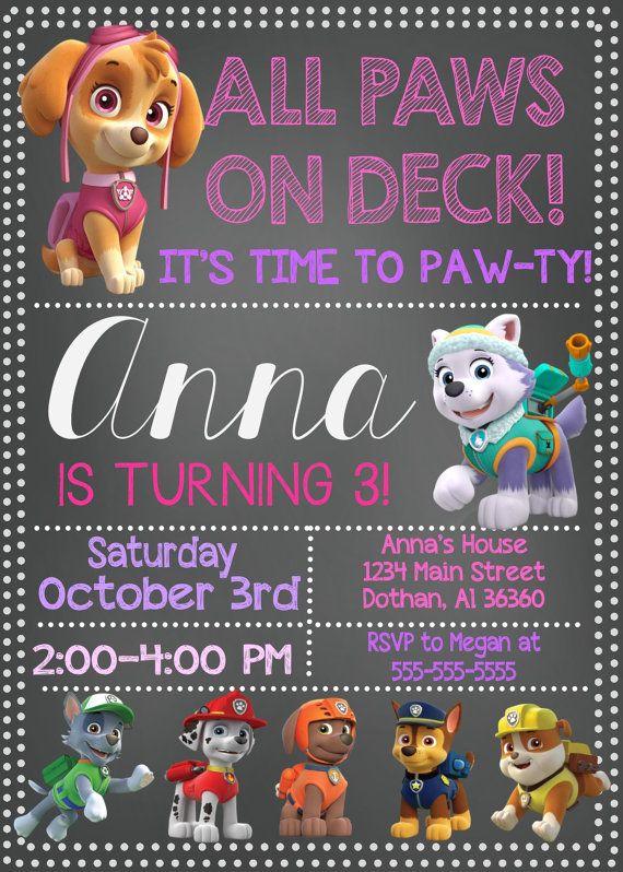 Paw Patrol birthday party invitation personalized printable