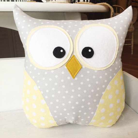 Yellow & Gray Polka Dot Owl Pillow by Loveoffamilyandhome on Etsy