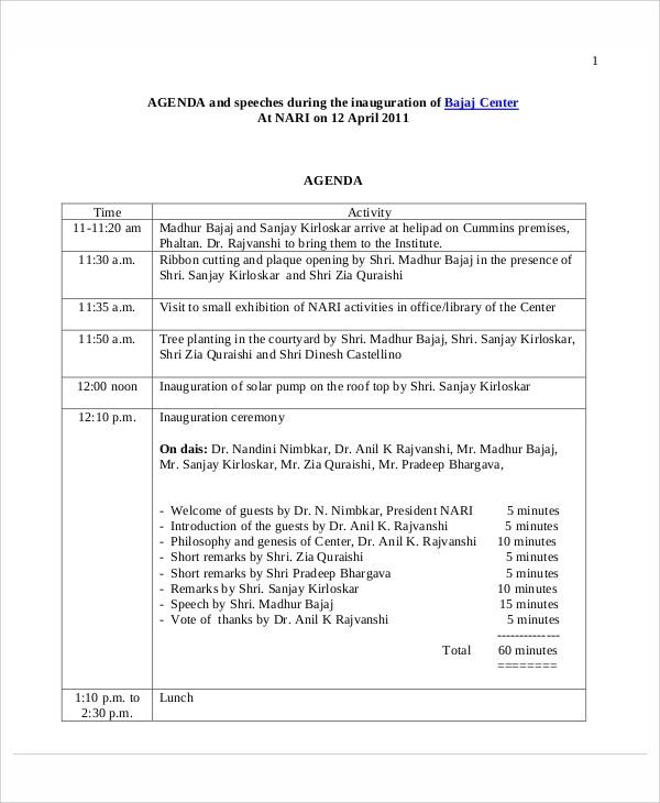 8 Sample Ceremony Agendas Meeting Agenda Template