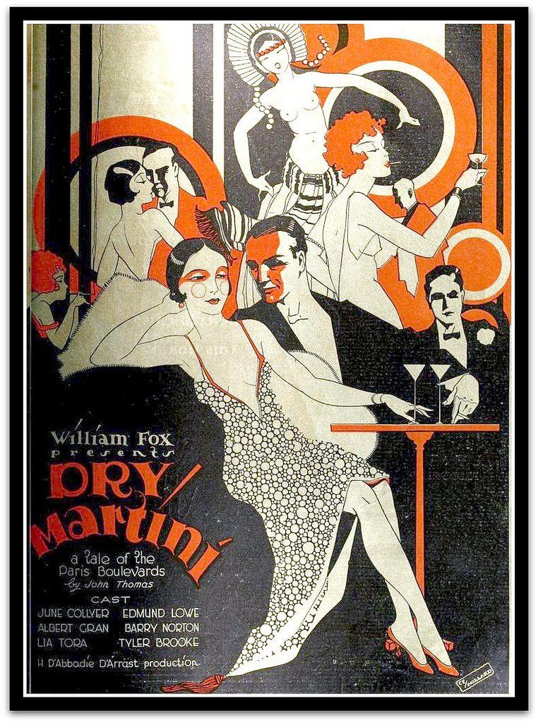 Vintage Art Deco Advert For Dry Martini 1928 Art Deco Posters Art Deco Illustration Vintage Art Deco