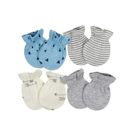Gerber Baby Boys 4 Pack Organic Cotton Mittens Size 0-3 Months NEW Adorable
