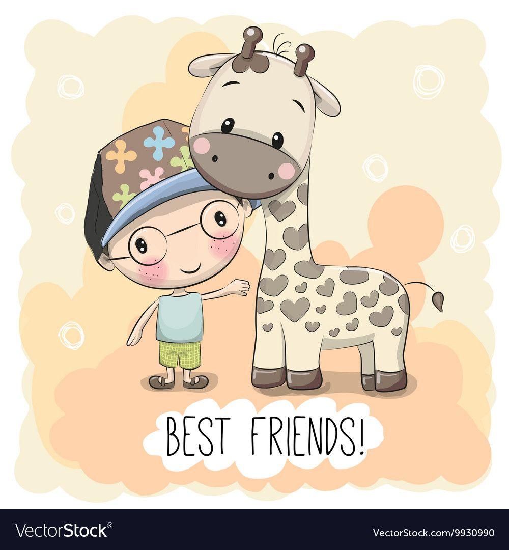 Cute Boyl And Giraffe Vector Image On Vectorstock Cute Cartoon Boy Cartoon Boy Cute Cartoon