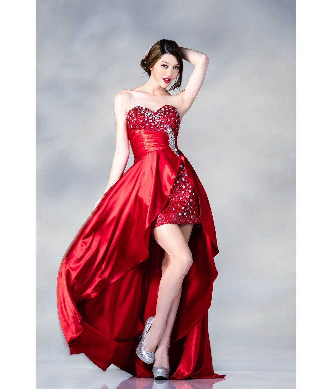 prom dresses red sequin u satin highlow prom gown unique