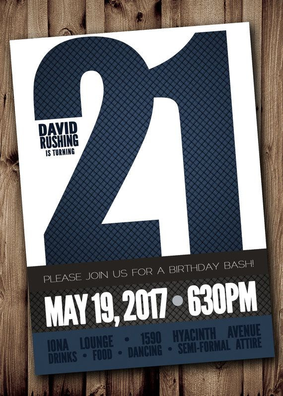21ST BIRTHDAY Party Invitation for Man Male Blue Silver Gray – 21st Birthday Templates