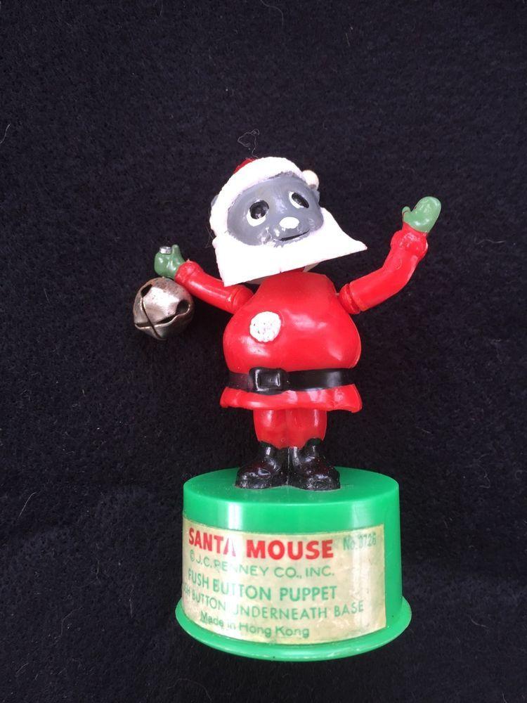 Kohner Brothers Santa Mouse Push Button Puppet Hong Kong Christmas
