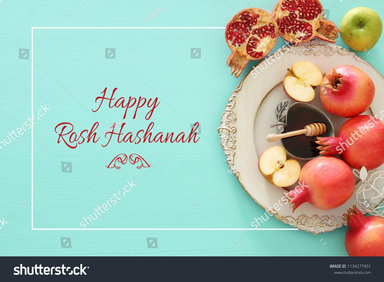 Rosh Hashanah Jewish New Year Holiday Concept Traditional