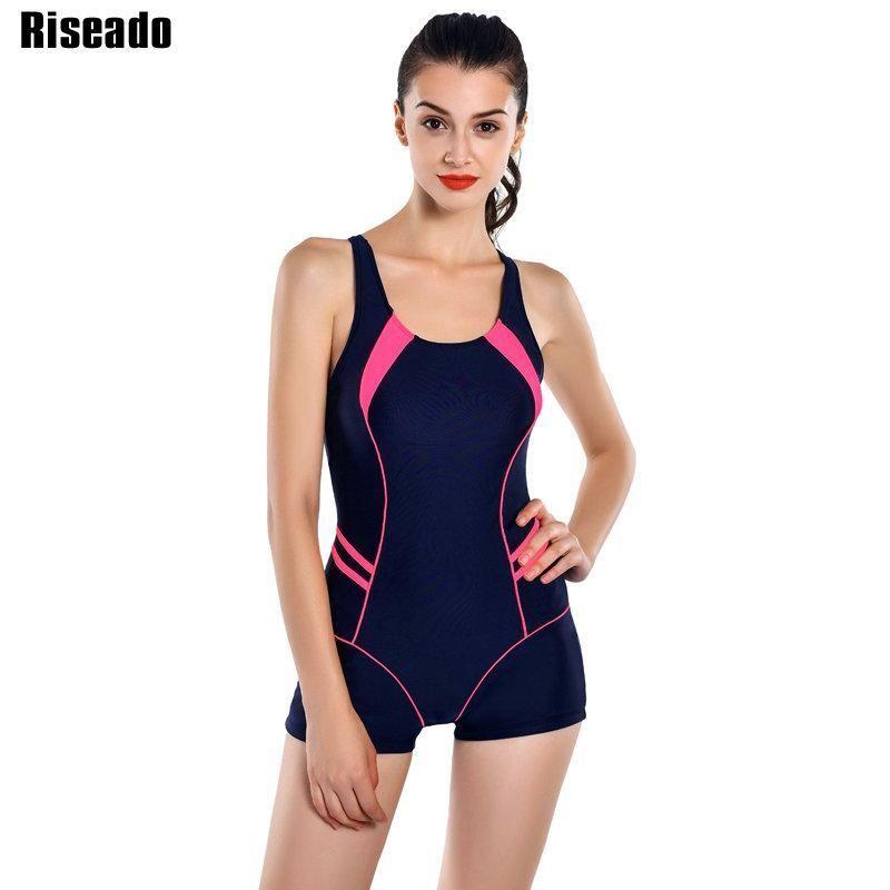 3fdc8b413ddba Riseado 2017 Sports One Piece Swimsuits Brand Swimwear Women Shorts  Backless Bathing Suits Swimming Suit For Women