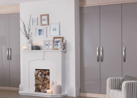 accent truffle gloss fitted bedroom from the schreiber fitted furniture range at homebase - Schreiber Fitted Bedroom Furniture Uk