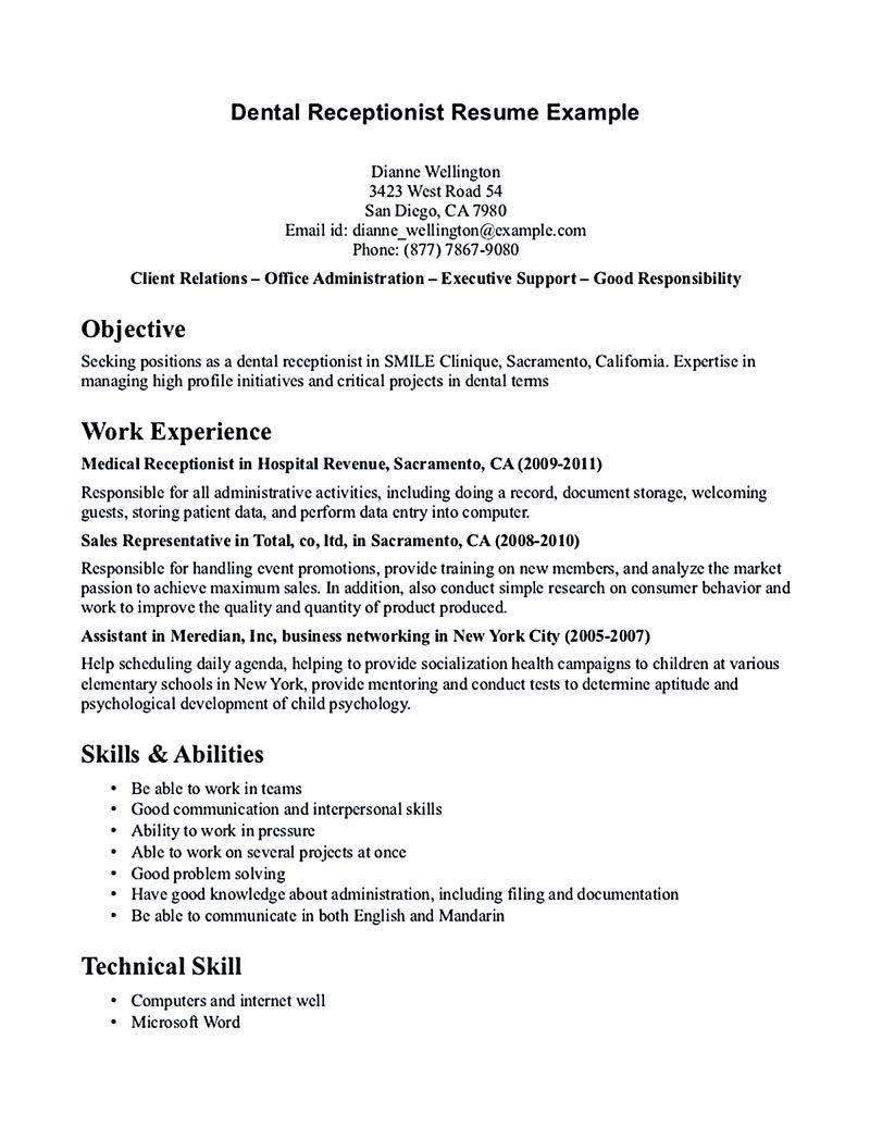 Receptionist Resume Is Relevant With Customer Services Field Receptionist Is A Person Who Is Responsib Dental Receptionist Dentist Resume Medical Receptionist
