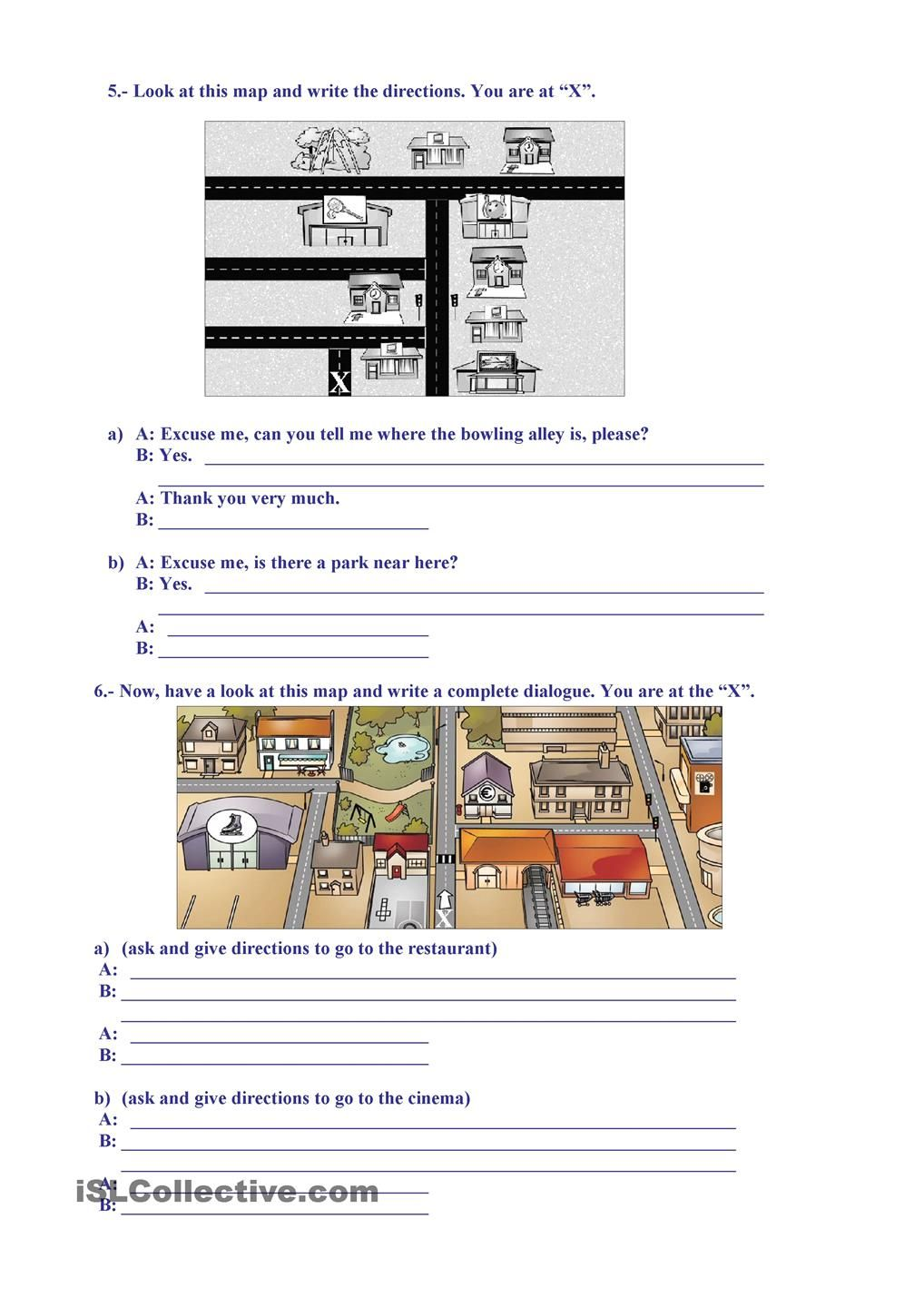 Places Giving Directions English Grammer Work Sheets Pinterest