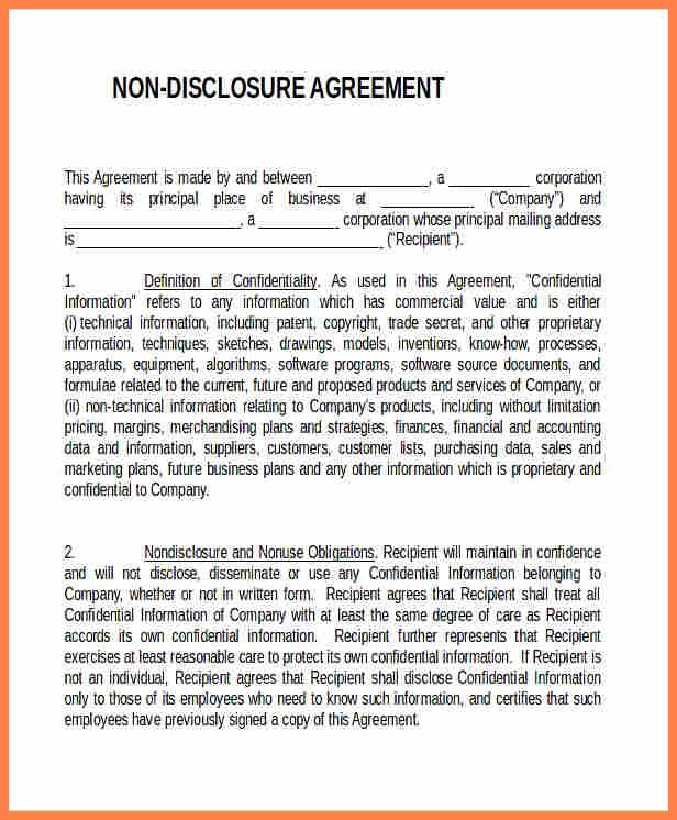 non disclosure confidentiality agreement template 28 News to Gow