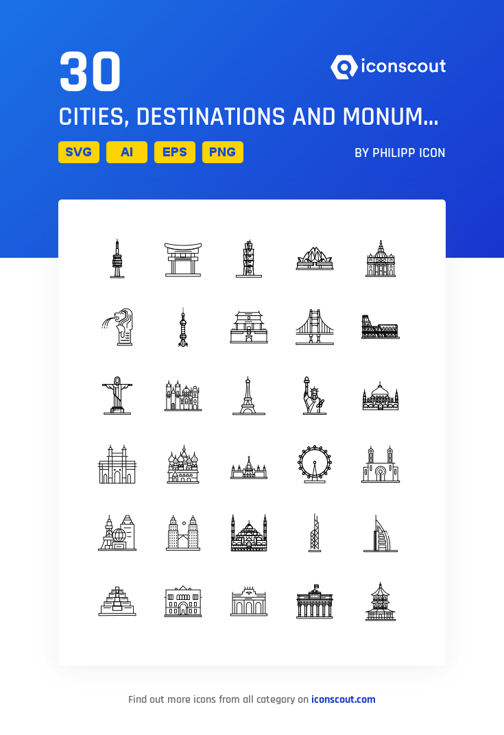 Download Cities Destinations And Monuments Icon Pack Available In Svg Png Eps Ai Icon Fonts Icon Pack City Icon Icon