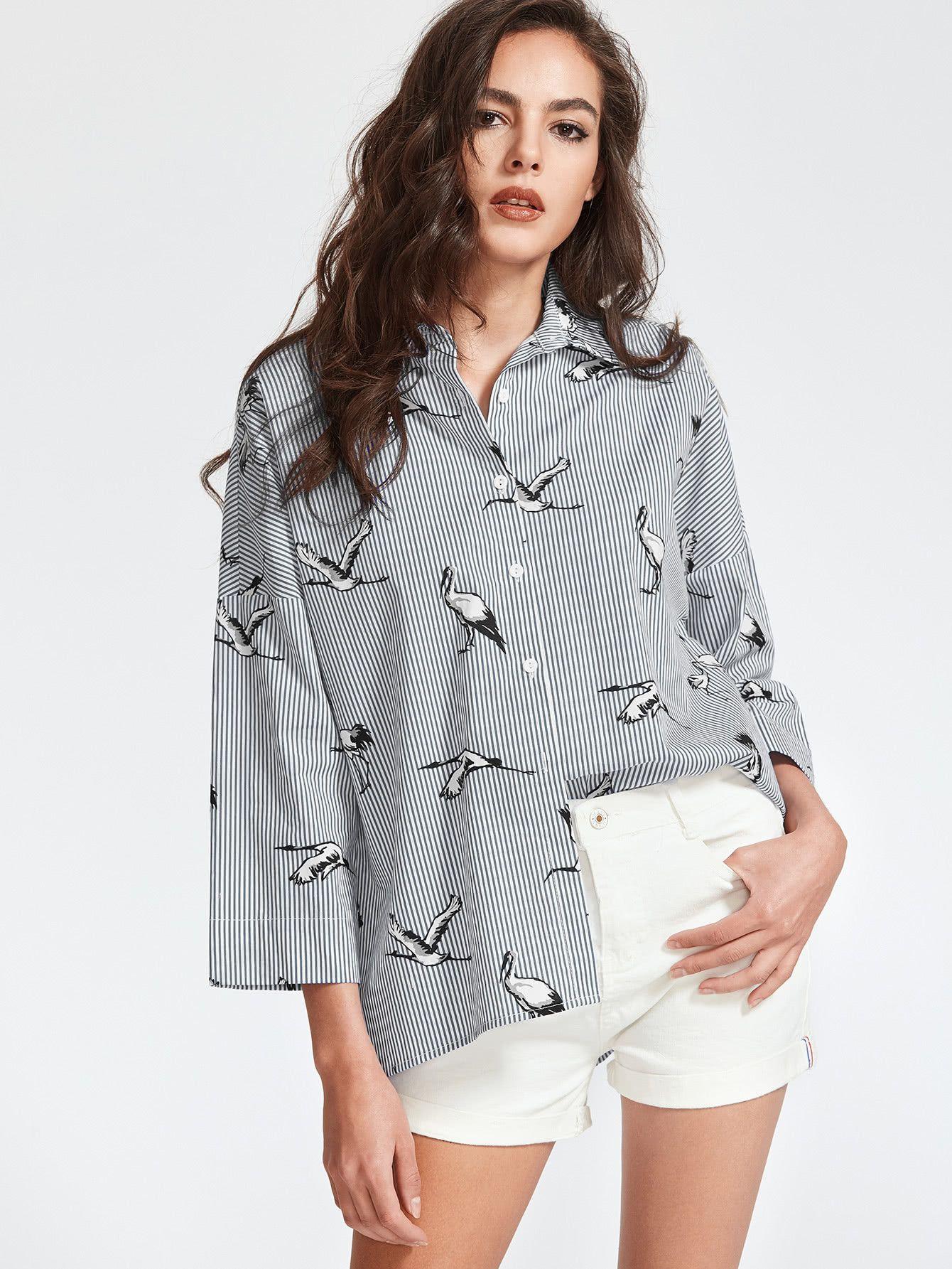 6a4ec6b286118 Shop Pinstripe Crane Print Drop Shoulder Shirt online. SheIn offers ...