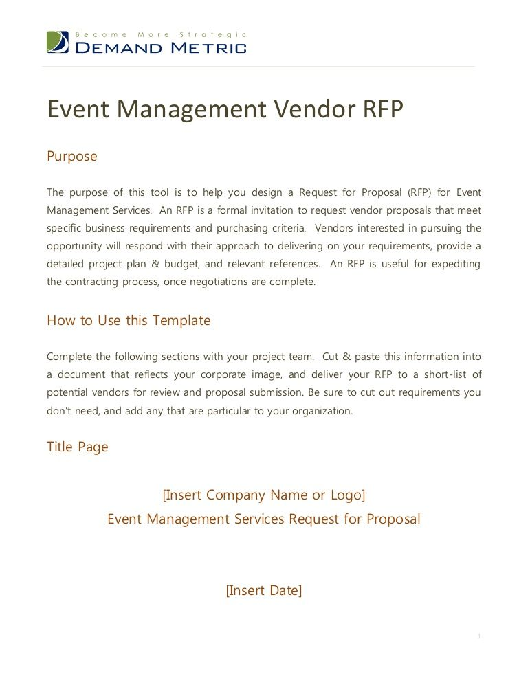 Event Management Rfp  Requests For Proposal Rfps
