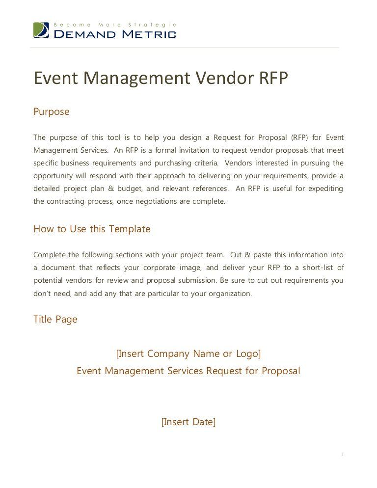 Event Management Rfp Event Management Services Event Management Rfp