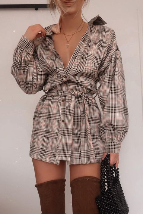 FASHION INFLUX BLACK HERITAGE CHECK BELTED SHIRT DRESS – giysi