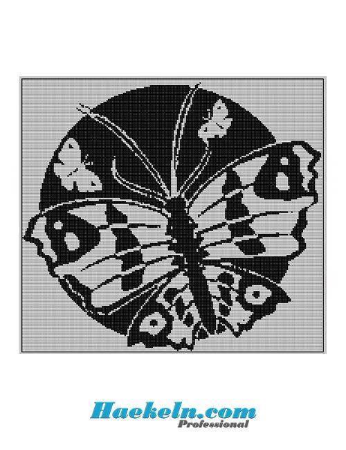 Häkeln Filethäkelvorlage ♥ Schmetterling rund Anleitung Filethäkeln ...