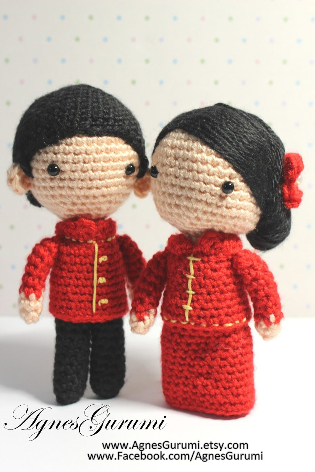 Amigurumi Crochet Wedding Couple Chinese Traditional Red Costume Doll Groom Bride Stuffed Toy Handmade Made To Order