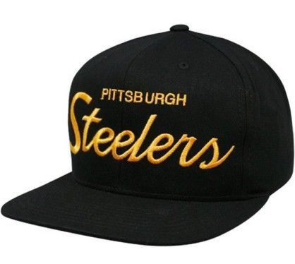 NFL Mitchell   Ness - Vintage Steelers Snapback Hat Caps - Black ... 450bb31ac