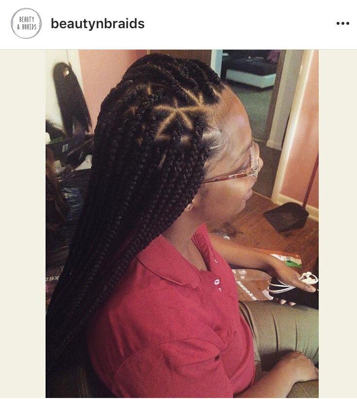 Long Box Braids Triangle Parts Hair