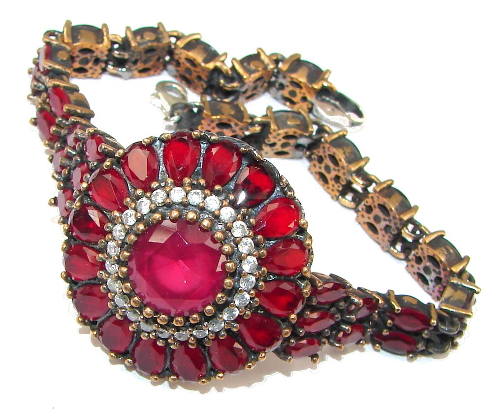 $95.85 Love's Light! Red Ruby & White Topaz Sterling Silver Bracelet at www.SilverRushStyle.com #bracelet #handmade #jewelry #silver #ruby
