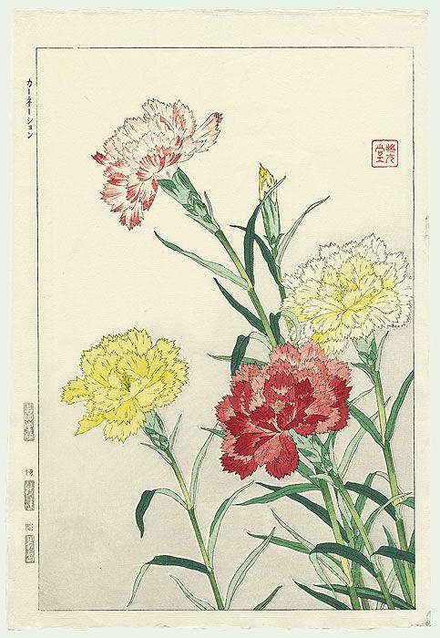 Carnations By Kawarazaki Shodo 1889 1973 꽃 예술 그림 꽃그림