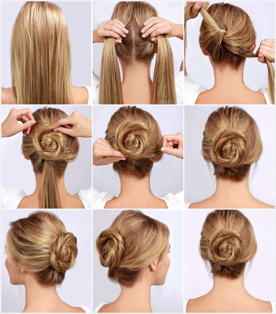 Different Bun Hairstyles How To Make A Rose Hair Bun Google Search Hair Goals