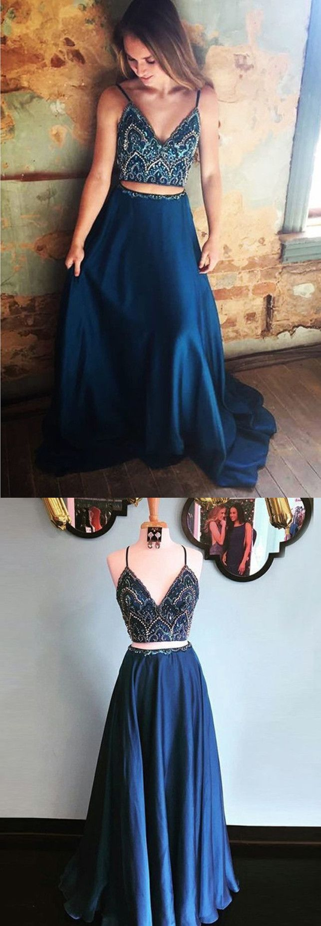Charming two piece long prom dress straps beaded bodice navy blue
