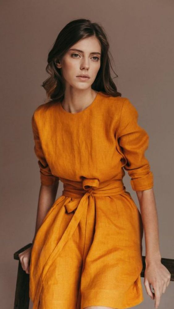 8c4c6a50e летний | Women's fashion | Mustard fashion, Fashion a Chic dress
