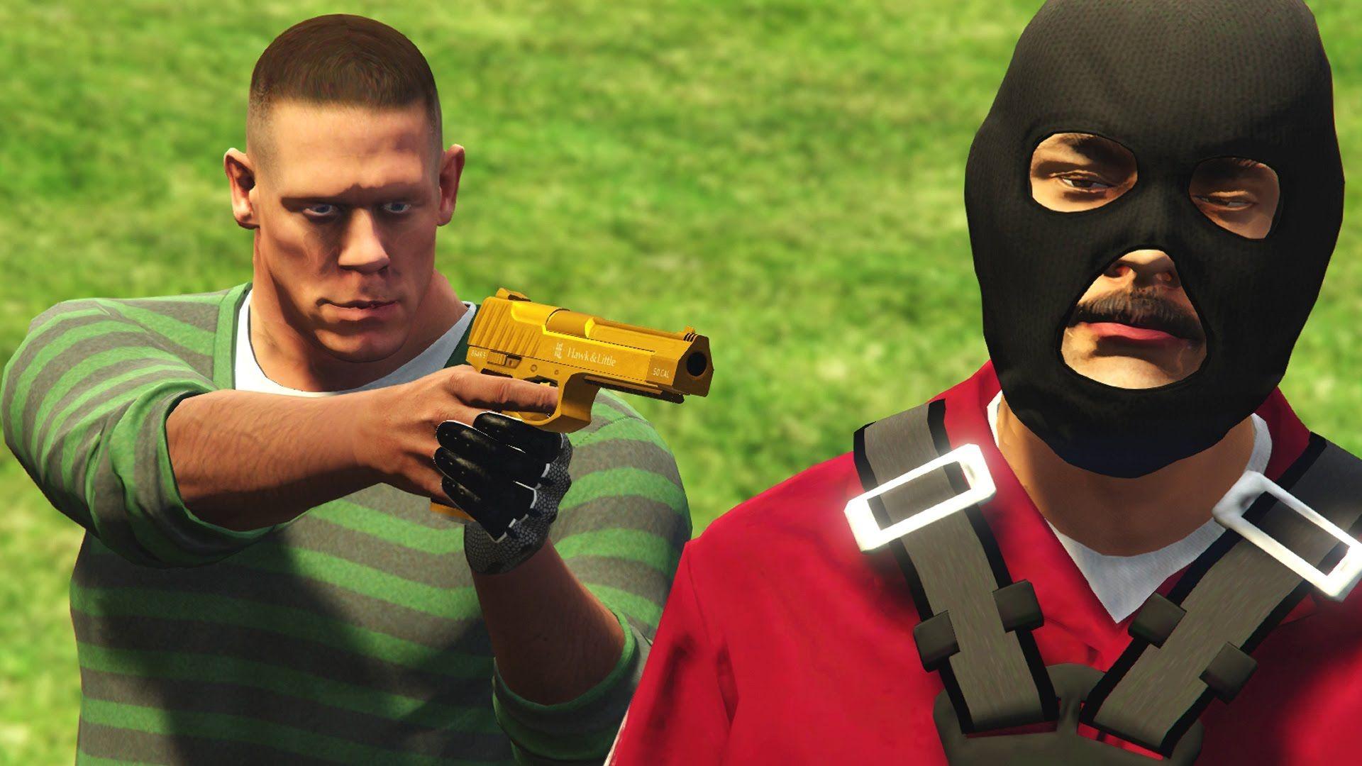 GTA 5 WWE Mods - JOHN CENAS HOME INVASION! (Grand Theft Auto