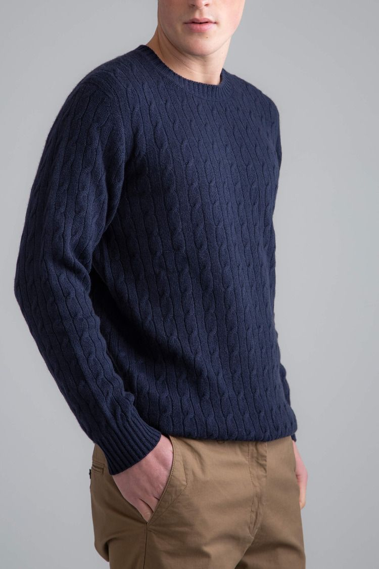 485c9914bbd9bc A modern classic for your wardrobe, discover our Navy Blue Cable & Rib  Men's