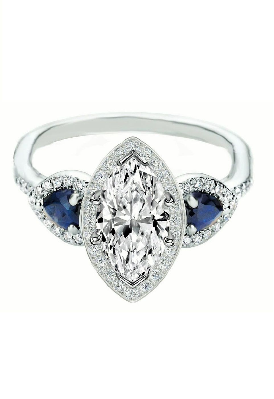 Art crafted engagement rings - Marquise Diamond Halo Engagement Ring Pear Shape Blue Sapphire Side Stones