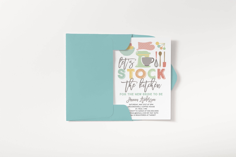 Stock The Kitchen Invitation Couples Shower Invitation Bar Kitchen