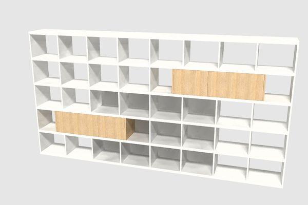 boekenkast op maat met vier eiken fineer deuren