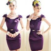 Women's Sleeveless Purple Slim Temperament Bowknot Dress With Belt