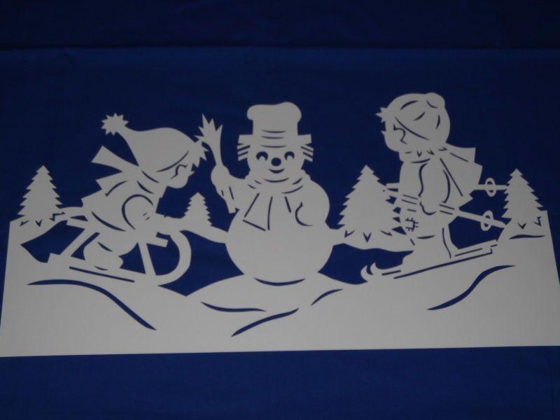 Fensterbild Tonkarton Winter Weihnacht Schlitten Skier Kinder Deko ...